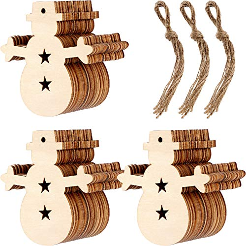 Patelai 30 Pieces Wooden Snowman Cutouts Wood Snowman Ornaments with Holes and 30 Pieces Natural Twine for Christmas Tree Decoration -