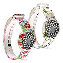 kwmobile 2in1 set: 2x Sport spare bracelet for Jawbone UP Move in Spring orchids multicolor green white, Hibiscus abstract multicolor red white, Inner dimensions: approx. 15,5 - 23 cm