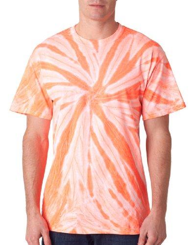 68Gildan Tie Dye hombres de neón Pinwheel monocromáticas Tee Basic T Shirt naranja neón