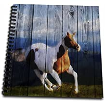 3dRose db_127611_2 Wild Horse Running with an Old Barn Wood Fence Memory Book, 12 by 12-Inch