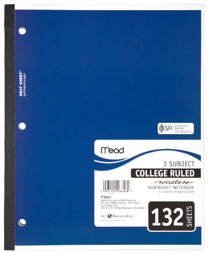 "Mead(R) Wireless Neatbook(R), 3 Subjects, College Ruled, 8 1/2"" x 11"", 132 Pages"