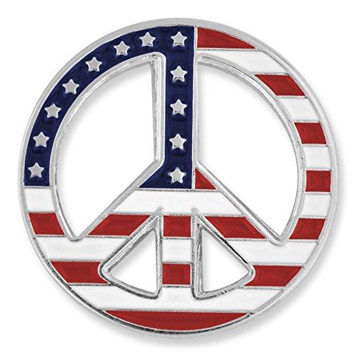 PinMart American Flag Peace Sign Patriotic Enamel Lapel Pin