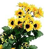GreenDec artificial sunflower garland silk flower garland each 61 flowers sunflower for Home kitchen wall Floral Decor,2 Pack