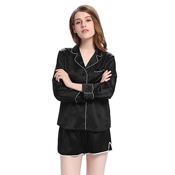 LilySilk Silk Pajamas Set for Women 22 Momme Elegant Shorts with Trimming Long  Sleeve Top 2pc Luxury at Amazon Women s Clothing store  1b9317180