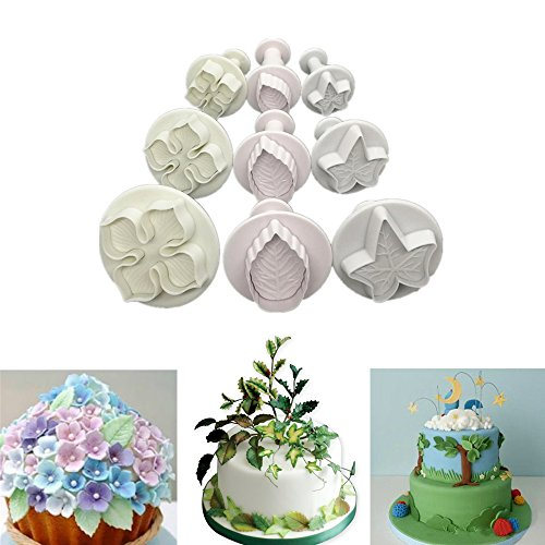 9pcs Plunger Cutters Fondant Cookie Cutters Sugarcraft Cake Decorating Tools Hydrangea Flower/Veined Rose Leaf/Veined Ivy Leaf DIY Mold, White for $<!--$7.99-->