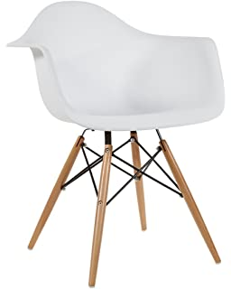 Nicer Furniture® Set Of 2 White   Eames Style Armchair With Natural Wood  Legs Eiffel