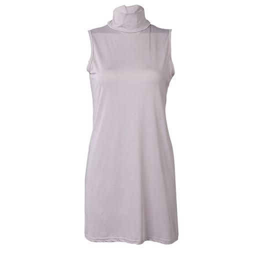 9b37a5753eb8 SODIAL Women s Ladies Cute Sexy Plain High Neck Tank Dresses Womens ...
