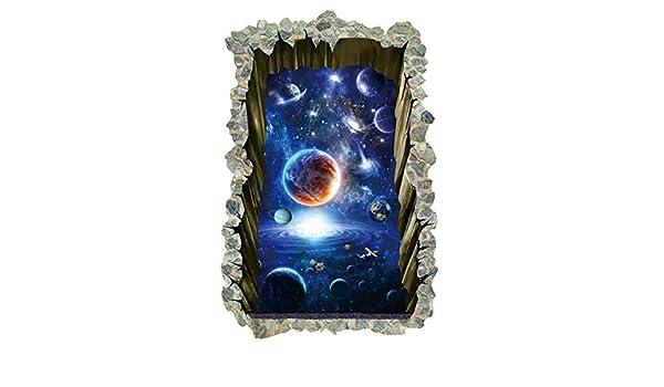Etiqueta de la Pared 3D Galaxy Planta Pegatinas De Pared Cuadrados ...