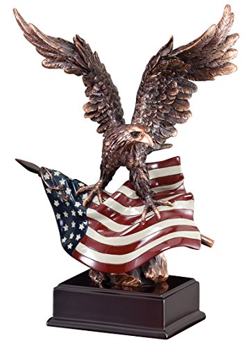 Awards and Gifts R Us Customizable Bronze American Eagle with Painted Flag on Black Base, Includes Personalization