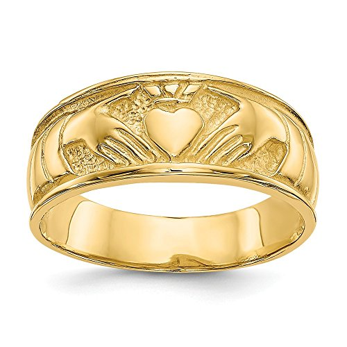 14k Yellow Gold Ladies Irish Claddagh Celtic Knot Band Ring Size 6.00 Fine Jewelry Gifts For Women For Her ()