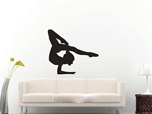 pegatina de pared 3d Gymnast Girl Yoga Sport Wall Art ...