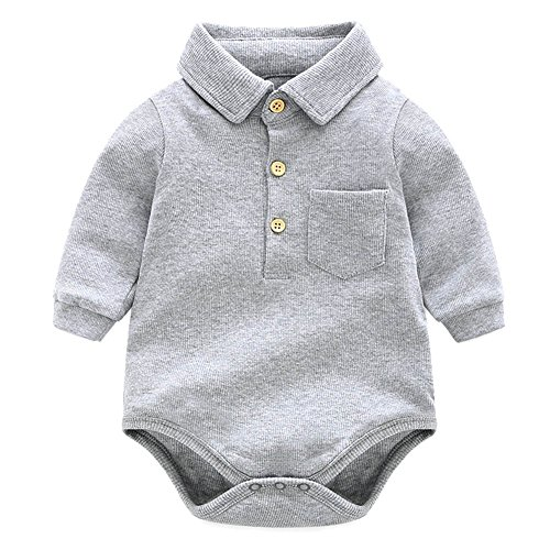 Y·J Back home Grey Bodysuit,Baby Boys Onesie Long Sleeve One Piece Polo Shirt Cotton Infant Bodysuit Newborn Solid Clothing Toddler Organic Clothes for Spring and Fall,0-6 Months (Newborn Polo Bodysuit)