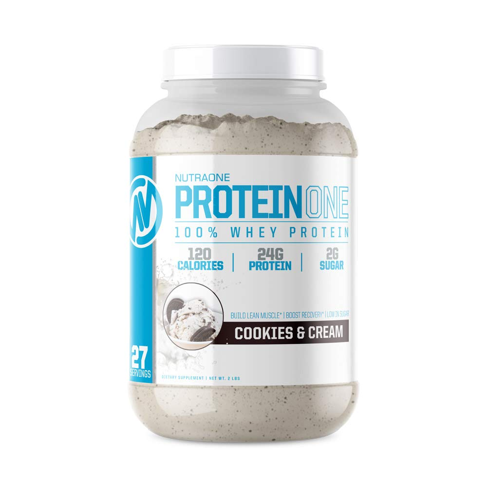 ProteinOne Whey Protein Powder by NutraOne Non-GMO and Amino Acid Free Protein Powder Cookies Cream – 2 lbs.