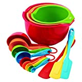 Fiesta 15-Piece Prep and Serve Baking Set, 4 Measuring Spoons, 4 Measuring Cups, 3 Spatulas, 3 Serve Bowls by Unknown