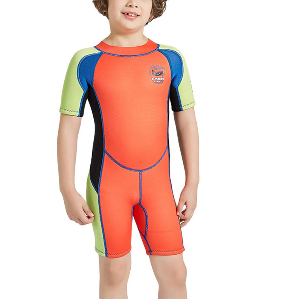 YAMTHR Kids Wetsuit 2.5mm Premium Neoprene Shorty Full Swimsuit One Piece UV Protection for Toddler Baby Children and Girls Boys (Boy's Shorty Suit 2.5 mm/Orange, Kids M Size) by YAMTHR