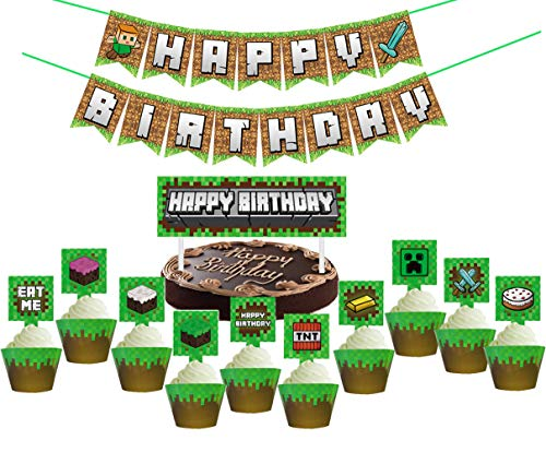 Pixel Style Mining Party Favors Sets for Birthday Party, 62 Pcs Pixel Miner Theme Party Supplies Kit Includes Banner - Cake Topper - Cupcake Topper and Wrapper for Kids, Adults Birthday Party Decorations,Not Includes balloons. (Mining Supplies Party)