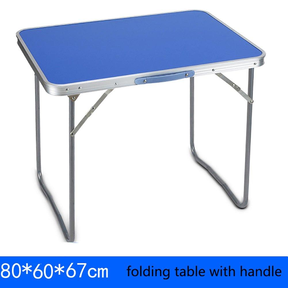 YXX- 屋外の木の折り畳み式のテーブルとキャンプ用のハンドル付き椅子ポータブル金属スクエアコンピュータデスクFoldable長いキッチン&ダイニングテーブル (色 : Table, サイズ さいず : 80*60*67cm) B07DS1HSTG  Table 80*60*67cm