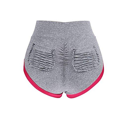 RAISINGTOP Women Yoga Pants Ruched Butt Pocket Sports Shorts Gym Workout Waistband Skinny Leggings Petite Soft New (Gray, (Ruched Pocket Short)