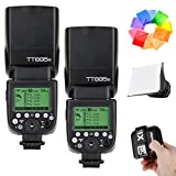 2 Pcs Godox TT685S HSS 1/8000S GN60 TTL Flash Speedlite with X1T-S 2.4G TTL Wireless Flash Trigger, Flash Diffuser Softbox and Flash Color Filters for Sony DSLR Cameras with MI Shoe