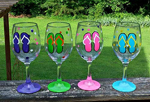 4 Flip Flop Polka Dots Hand Painted Wine Glasses