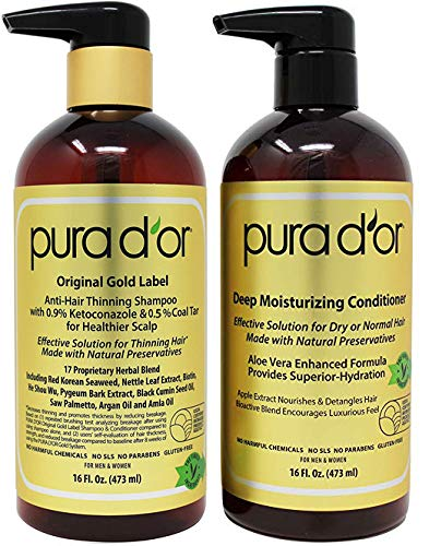 PURA D'OR Anti-Thinning Shampoo with 0.5% Coal Tar & 0.9% Keto and Deep Moisturizing Conditioner Hair Care Set - Dandruff Control & Reduce Hair Thinning, All Hair Types, Men & Women