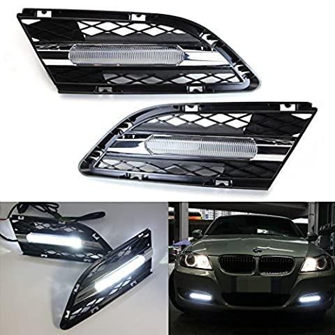 iJDMTOY OEM Fit 15W High Power LED Daytime Running Lights DRL Kit For 2009 2010 2011 2012 BMW E90 LCI 328i 335i Sedan, Xenon (Bmw Accessories 09 328 E90)