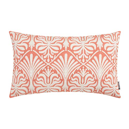 HWY 50 Decorative Embroidered Throw Pillow Covers Cushion Cases for Couch Sofa Bed Coral Pink Small Rectangle Geometric Lumbar 12 x 20 inch 1 Piece (Decorative Coral Pieces)