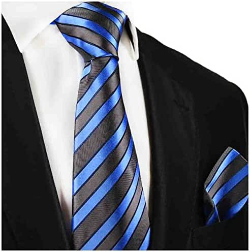 Striped Paul Malone Silk Tie and Pocket Square . Grey and Blue