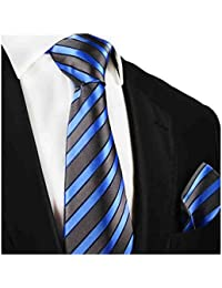 "<span class=""a-offscreen"">[Sponsored]</span>Striped Paul Malone Silk Tie and Pocket Square . Grey and Blue"