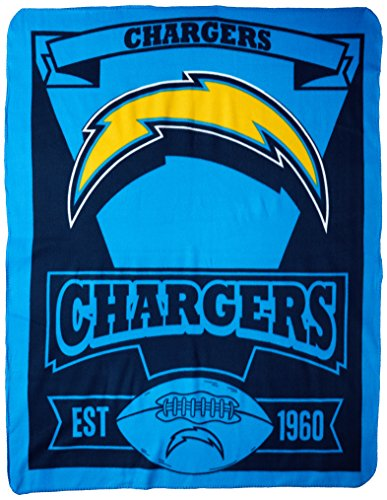 The Northwest Company NFL Los Angeles Chargers Marque Fleece Throw Blanket, Blue, One Size - Chargers Blanket