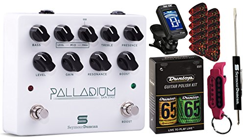Seymour Duncan Bass Preamps - Seymour Duncan Palladium Gain Stage Effects Pedal with Polish Kit, Tuner, Picks, Tool, Keychain Bundle - White