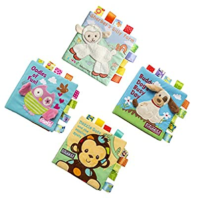 NUOBESTY 4pcs Baby Cloth Book 3D Cloth Book Teether Activity Crinkle Books Early Educational Toys for Toddler Infants Boys Girls: Toys & Games
