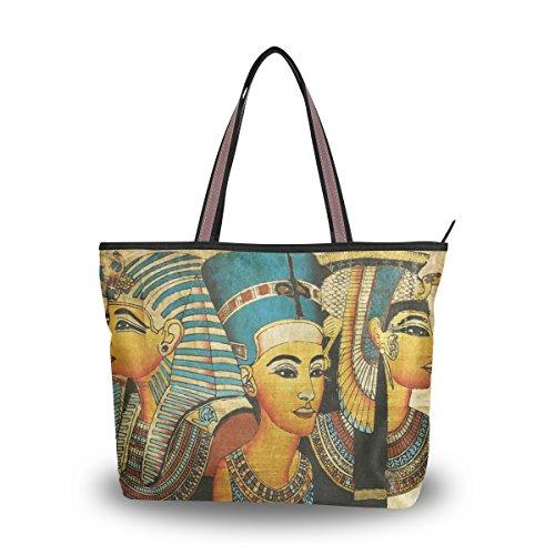 Women's Designer Handbags Canvas Washable Tote Bags Shoulder Bag with Ancient Egyptian Parchment