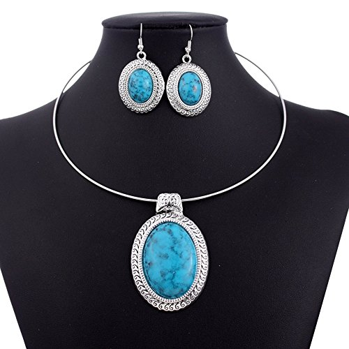 Chunky Oval Turquoise Tibet Silver Pendant Torque Necklace Earrings Collar Set