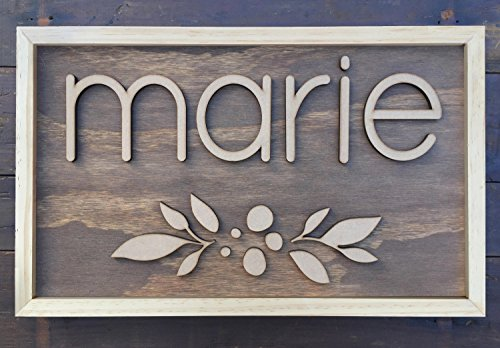 Avery Carey Custom Name kids room decor Nursery Decor Unframed or Framed Girls Room Decor Wood Cut Sign Floral accents ()