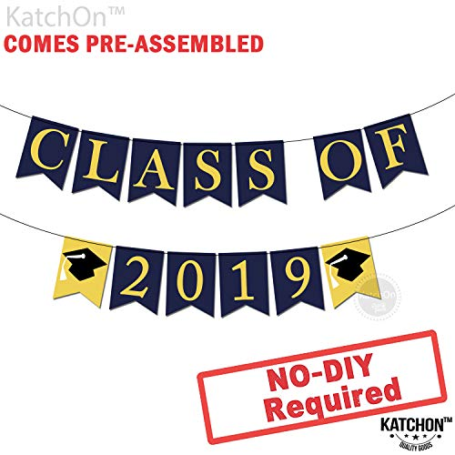 (Class of 2019 Graduation Banner Decorations - Assembled - Graduation Party Supplies 2019 | Graduation Decoration Blue Yellow Gold Banner Sign for Mantle, High School, College Graduation, No DIY,)
