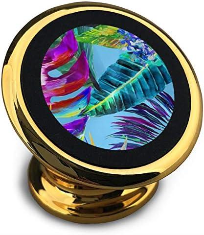 色の花熱帯の葉 携帯電話ホルダー おしゃれ 車載ホルダー 人気 磁気ホルダー 大きな吸引力 サポートフレーム 落下防止 360度回転