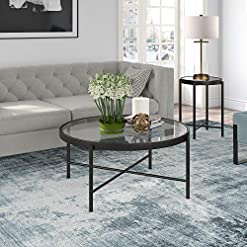 Living Room Henn&Hart Modern Round Glass, Cocktail in Blackened Bronze for Living Room, Kitchen, Home Office Coffee Table, 16″ H x 36″ L x 36″ W, Black modern coffee tables