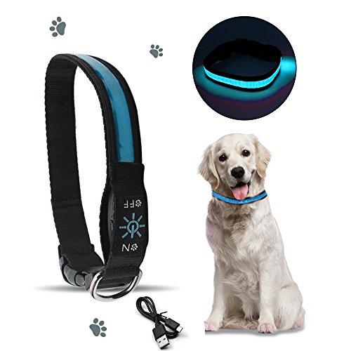 SZMINILED Led USB Dog Collar Waterproof Neck Collar Reflective with 3 Glowing Modes Adjustable Soft Nylon Webbing Large Size Blue by szminiled