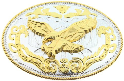 RIDE AWAY Rodeo Soaring Eagle Western Style Gold/Silver Color Large Oval Belt Buckles (Buckle Ride Eagle)