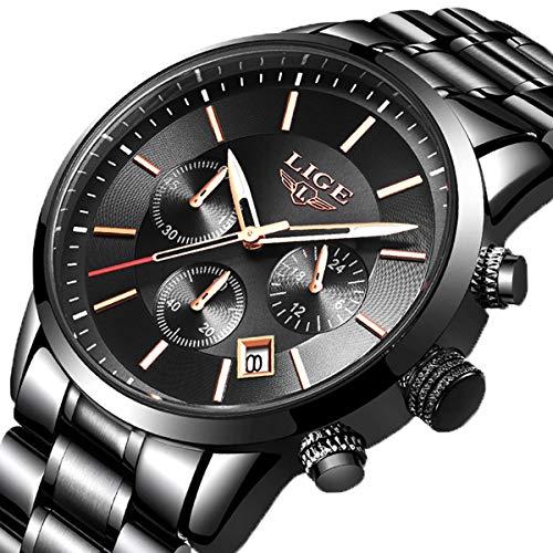 (LIGE Mens Watches Fashion Sports Waterproof Black Stainless Steel Analog Quartz Watch Business Dress Chronograph Calendar Date Wristwatch)
