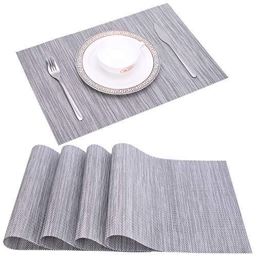 Zupro Placemats, Heat-Resistant Placemats Stain Resistant Anti-Skid Washable PVC Table Mats Woven Vinyl Placemats, Set of 4(4pcs placemats,Silver -