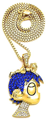 GWOOD L Uzi Small Cartoon Pendant Necklace(Gold Color with Blue Stones with Box Chain)