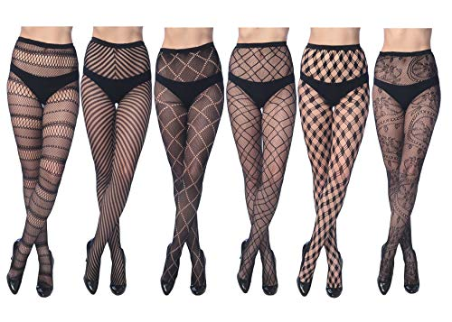 Frenchic Fishnet Lace Stocking Tights Extended Sizes (Pack of 6) (M/L), Black
