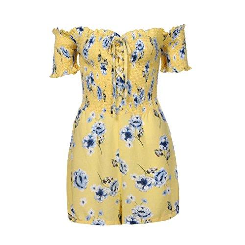 Manche Impression Robe Jupe Courte Femmes URSING Plage Mini Jaune Rtro Vacances Epaules Courte t Casual Hors Floral Robe Combinaisons Dnuds paule wfXqqEc5r