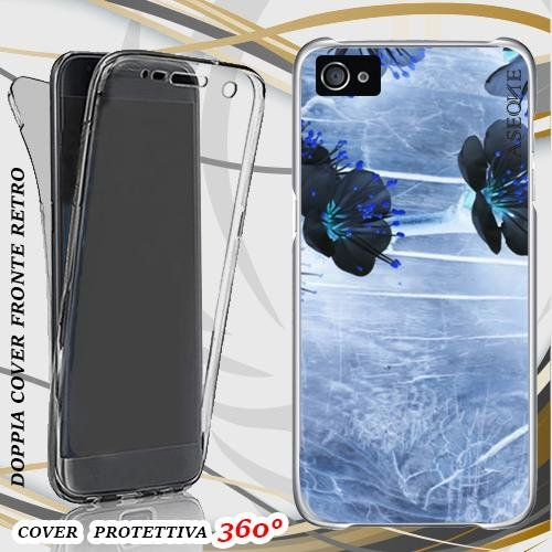 CUSTODIA COVER CASE ANCIENT FLOWERS PER IPHONE 4 FRONT BACK