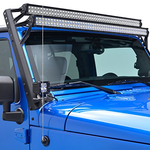 E-Autogrilles Jeep Wrangler JK 52 Inch Double Straight LED Light Bar Upper Windshield Mounting Brackets