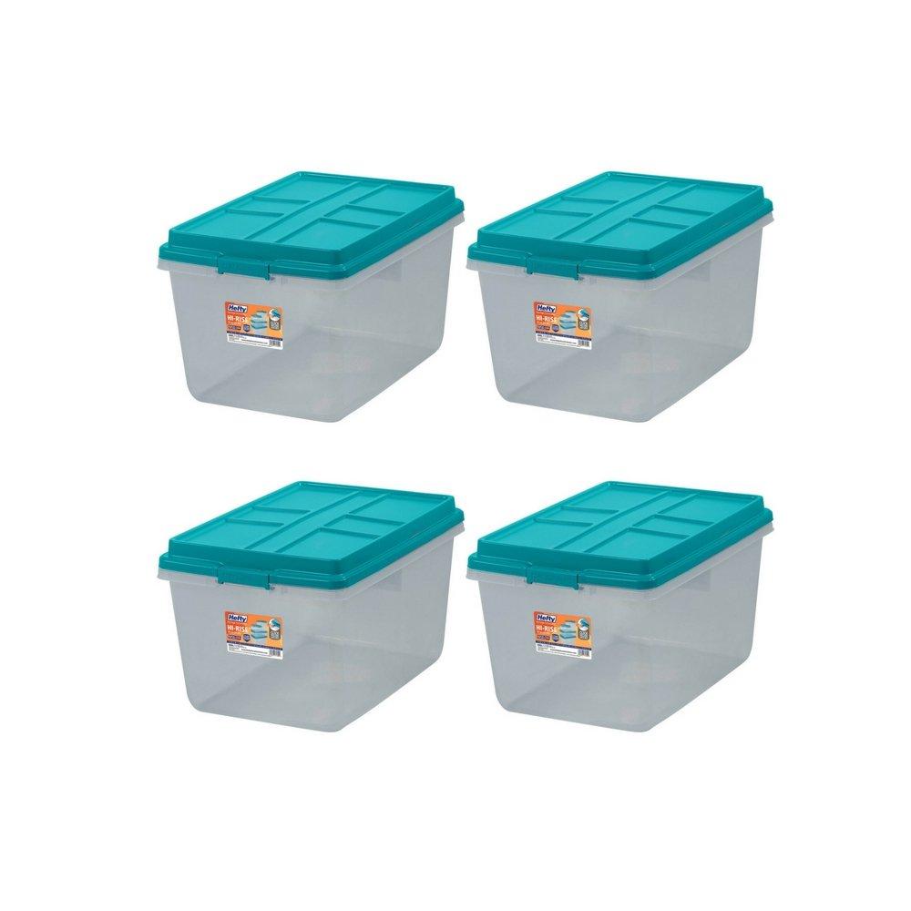 Single Unit 72-Quart Hefty Hi-Rise Clear Latch Box In Teal Sachet Lid and Handles (4 Pack)