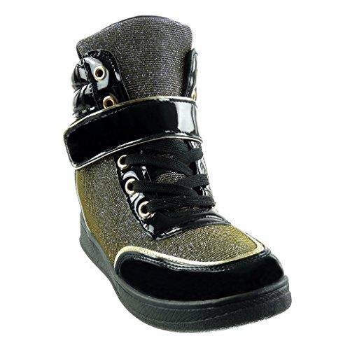 Pailettes compensé Lanière Mode Femme Matière Talon bi Angkorly CM 7 Montante Basket Compensée Brillant Chaussure 8q7fA