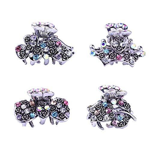 (ShungFun Vintage Jaw Clips Retro Metal Alloy Hollow Carving Hair Claw Clips w/Rhinestones Hair Bows Crown Rose Flower Pattern Clips (Colorful))